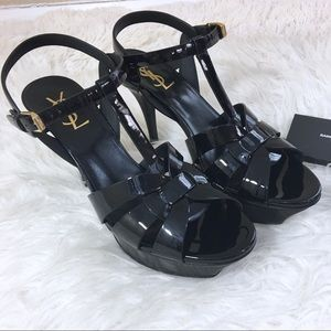 YSL Tribute Sandal Nero Black Patent Size 39 NEW